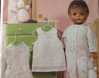 Vogue Doll Collection, 18 inch doll clothes pattern, vintage undershirt and panties, doll slip, footed one-piece pajamas, bunny pattern,