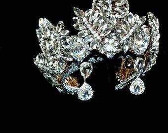 Royal wedding crystal Raw queen crown earrings White Swarovski Rose Gold Metal Miss Universe bridal Replica princess Tiara Diadem Jewelry