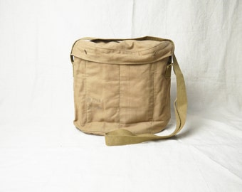 70s Vintage Army Canvas Bag Military Bag with sections Army Bag khaki bag Army uniform Army accessories Shoulder bag Soldier bag