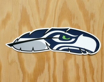 Seattle Seahawks Decal -- Hawk Feather -- Seattle Football -- Seahawk Sticker -- Seattle Decal -- Seattle 12 Sticker -- 12th Man Decal -- NW