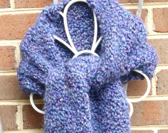 Handmade straight knit chunky scarf with heathered deep violet and teal. Free domestic USPS shipping!!