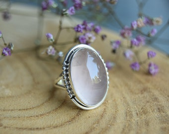 Rose Quartz Ring, Sterling Silver Ring, Boho Ring, Size 7 Ring, Gemstone Ring, Handmade Jewelry, Quartz Jewelry, Gift for women,Pink ring