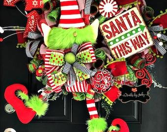 Christmas Elf Wreath, Elf Decor, Elf Wreath, Christmas Wreath, Christmas Decor, Holiday Wreaths, Holiday Decor,  Front Door Wreath, Gnome