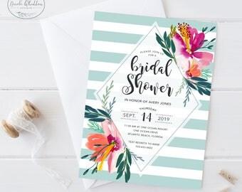 Tropical Bridal Shower Invitation, Tropical Florals, Hibiscus Bridal Shower Invite, Aloha Bridal Shower, Luau Bridal Shower Theme, Printable