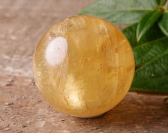 Small Yellow CALCITE Sphere with Stand - Natural Calcite Crystal Ball, Healing Crystal, Chakra Stone Sphere, Healing Stone E0557