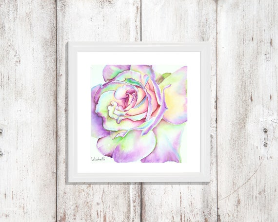 Colored rose, original painting, square picture, gift idea for her birthday, romantic little image to hang on bedroom or living room wall.