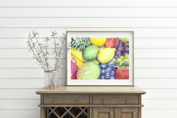Still life, fruits, OOAK, original drawing, colored pencils on velvety paper, kitchen decoration, home office Wall art, strawberries, grapes