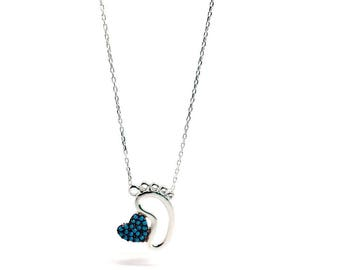 Jewellery for Mum - Baby Foot Necklace with Blue Heart. WOMEN'S Jewellery with FREE Luxurious gift box - Great Gift for new mums