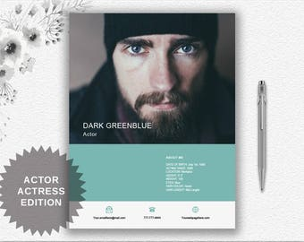 Actor Resume Template With Photo + Cover Letter + Writing Tips Instant Download | Personalized Professional Resume Word Template