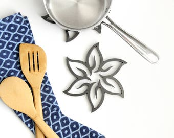 Flower Metal Trivet Hot Plate Pot Holder |  modern boho floral tropical kitchen decor