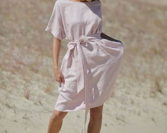 Linen dress / loose fit pink dress / knee length summer dress / smock day dress / organic maternity cloth / fit flare boho dress / handmade
