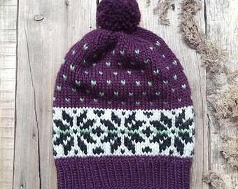 Norwegian wool hat, Icelandic hat, Knit Hat, Scandinavian hat, Winter Hat, Pom-pom hat, fair isle wool hat, woodland hat, ready to ship