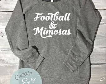 Football And Mimosas Off Shoulder Sweater, Football Shirts, Mimosa Shirt, Brunch Shirt, Brunch Sweater, Football Sweater, Football