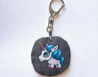 Unicorn Keychain, illustration handpainted on fabric