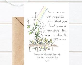 PRINTABLE/Sympathy/Life Wins/Blank 5x7 Greeting Card