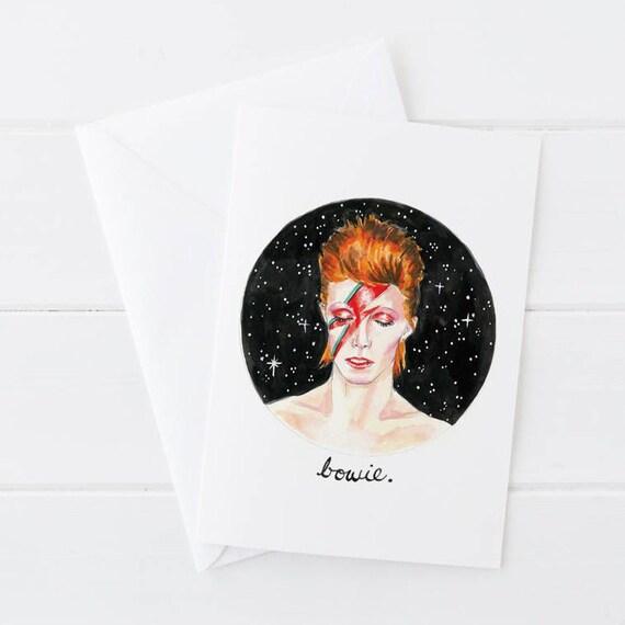 David Bowie Ziggy Stardust Illustrated Greeting Card 5x7