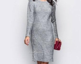 Gray womens knitted dress long sleeve Wool dress knitted Oversized dress warm Spring dress Autumn dress knee Woman Office dress Winter
