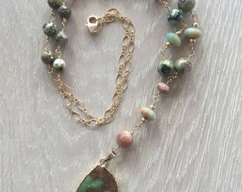 Chrysoprase Pendant, Wire Wrapped, Beaded Necklace,  Jasper Necklace, African Opal, Amazonite, Gold Filled wire, chain and clasp