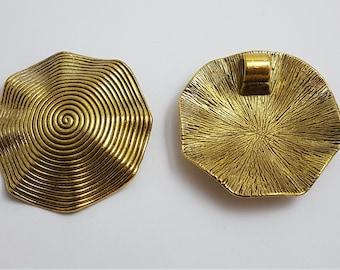 Gold Swirl Wavy Focal Bead 4.5cm