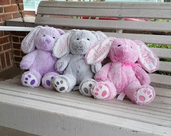 Personalized Easter Bunnies, Plush Bunnies,  Embroidered Easter Bunnies, Stuffed Rabbit, Easter Toys, Monogrammed Bunnies, Bunnies, Easter