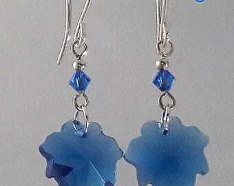 Blue Maple Leaf Earrings