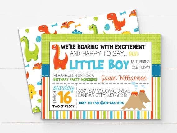 Dinosaur First Birthday Invitation Dinosaur Invitation Dinosaur