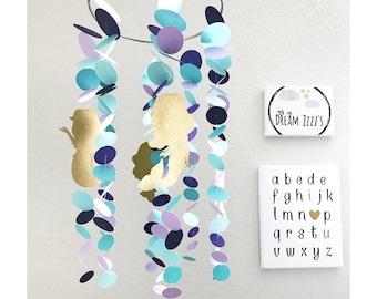 Mermaid Mobile - Baby Mobile - Mermaid Nursery - Mermaid Crib Mobile - Gold Nursery Decor - Mermaid Baby Shower - Teal Nursery Decor