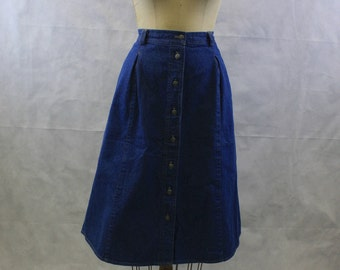 80's 90's High Waist Button Front Medium Blue Denim Skirt | Size Large - Extra Large | Midi Length | Below Knee | Elastic Back | Made in USA