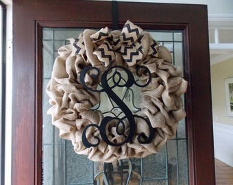Fall Wreaths for Front Door-Fall Wreath-Monogram Wreath-Burlap Monogram Wreath-Initial Wreath-Front Door Wreaths-Year Round Wreath-Wreathes