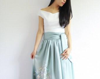 Vintage Japanese Kimono Skirt | Long Skirt | Maxi Skirt | Japanese Dress | Bridesmaid Dress |