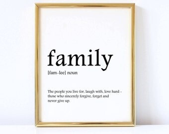 Family definition print, Instant download, Family poster printable, Home decor, Wall art