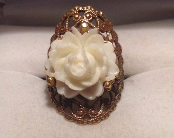 Vintage Gold Filagree Rose Statement Ring