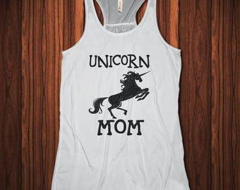 Unicorn Mom, Unicorn Shirt, Unicorn Tank Top, Flowy Racerback Tank, Funny Unicorn Shirt, Mom of Unicorns, Unicorn Mother's Day gift