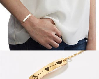 Country to Country Love Bracelet-Long Distance Relationship-Adoption-Best Friend-Going Away Gift-Traveler-14k GF,Rose,Silver-CG305B