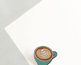 Cappuccino enamel pin - Coffee pin - Enamel pin - Lapel pin - Coffee Lapel pin - Coffee cup - Enamel Lapel pin - Love Coffee
