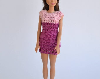 Dress for Barbie, clothing for doll, clothes for Barbie, yellow dress, Barbie pink dress, short dress, fashion doll, Barbie fashion