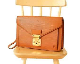 Authentic Louis Vuitton Epi Leather Pochette Sellier Dragonne Clutch Bag Burnt Orange Vintage LV Purse Handbag Wristlets Evening Bag YO4099
