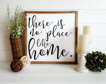 12x12 There is No Place Like Home Hand Painted Wood Sign: Chic Farmhouse, Rustic Decor, Wall Art, Home Decor, Housewarming Gift, Engagement