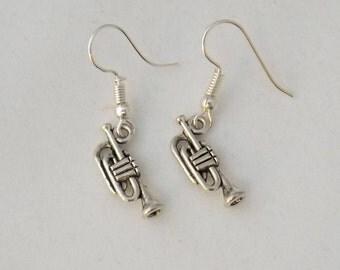 Trumpet earrings, musical instrument earrings, gift for her, stocking filler, sterling silver earrings, music student or teacher gift