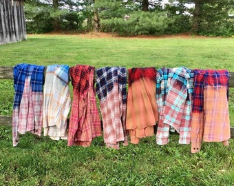 OMBRE Bleached Vintage Distressed FLANNEL Shirts WHOLESALE Order Bridesmaid Shirt Bachelorette Shirt Rustic Wedding