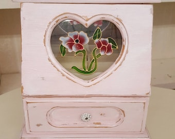 Vintage Hand Painted Distressed Pink and with White Wax Jewelry Box