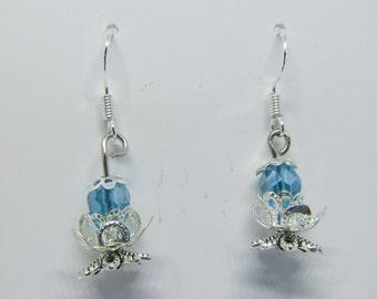 Lotus flower, silver earring, elegant jewelry, silver leaves, limited edition, blue teardrop bead, stunning 3d flower, bridal jewelry