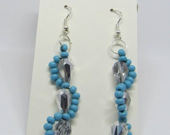 Beaded waving river earrings