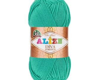 ALIZE DIVA STRETCH elastic yarn hand knit yarn Microfiber acrylic yarn silk effect hand knit crochet summer yarn spring yarn stretch yarn
