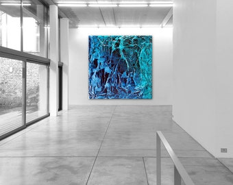 Abstract XXL  modern blue & green texture canvas