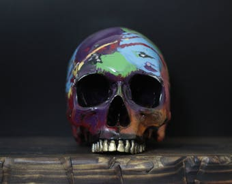 The Living Colour - Rainbow Paint Splash Full Scale Life Size Realistic Faux Human Skull Replica with Golden Teeth and Distressed Detailing