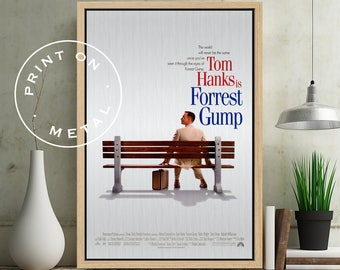 FORREST GUMP - Poster on Metal, Tom Hanks, Robin Wright, Gary Sinise, Metal Movie Posters, Unique Gift, Print on Metal, Metal Gift