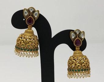 Indian Jhumki Earrings - Jhumki Jhumka Earrings - Indian Jewelry - Kundan Jhumki - Temple Jhumki Jhumka - Antique Gold Jhumki Earrings -