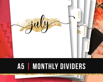 A5 Monthly Planner Dividers • Monthly Planner Insert Printable Tabbed Filofax Monthly Dividers A5 Printable Dividers A5 Monthly Tabs Glitter