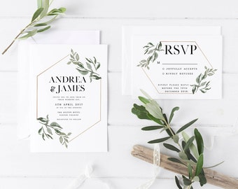 Minimalist Wedding Invitation Suite, the Andrea Suite, Nature Inspired Invite, RSVP, Save the Date, Printable Invite, Floral Rustic Wedding